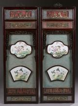Pair of Chinese painted porcelain inlaid panels.
