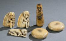 Group of 6 Chinese ivory pendants.