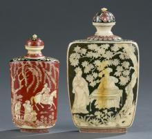 Group of 2 Japanese lacquered ivory snuff bottles.