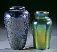Pair of iridescent studio art glass vases