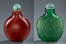 Group of 2 Peking glass snuff bottles.