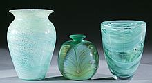 Group of green studio art glass, 20th c.