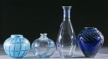 Group of blue studio art glass, 20th century.