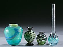 Group of 4 green studio art glass vases, 20th c.