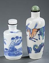 Group of 2 Chinese porcelain snuff bottles.