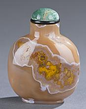 A Chinese banded agate snuff bottle.