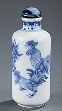 A Chinese blue and white porcelain snuff bottle.