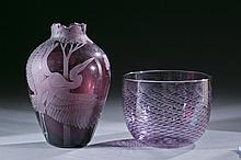 Group of 3 purple studio art glass vases, 20th c.