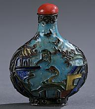 A Chinese cloisonne snuff bottle.