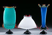 Group of 3 studio art glass vases by Peter Secrest