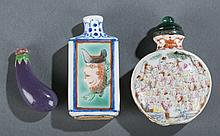 Group of 3 Chinese porcelain snuff bottles.