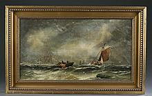 Frederick Watts (attb) Ships on a stormy sea, o/c