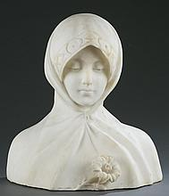 Marble bust of Madonna with a lily, 19th century.