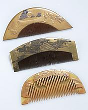 Group of 3 Japanese lacquered combs.
