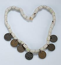 Native American bead & coin necklace, 19th century