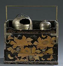 A Japanese lacquered tobacco box (Tabako-bon).