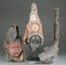 2 African masks and a harp. c.20th century.