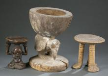 2 African headrests and a bowl. 20th century.