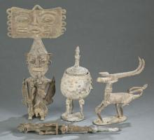 4 West African style metal objects. 20th century.
