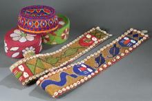 3 Yoruba beaded hats and 2 belts.