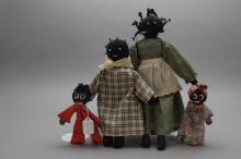 Lot of 4 Black Rag Dolls incl. Mother/Daughter