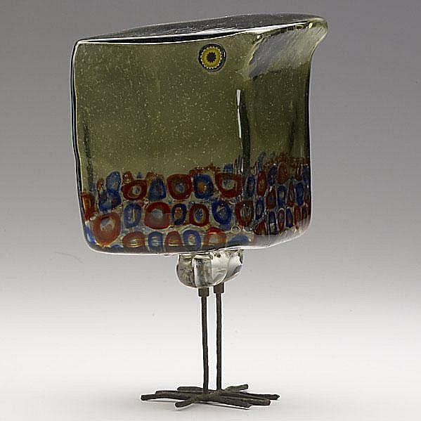 ALESSANDRO PIANON; VISTOSI; Glass and copper bird