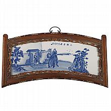CHINESE BLUE AND WHITE PORCELAIN FRAMED PANEL