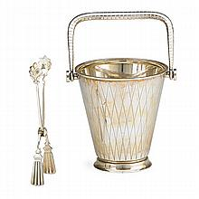 GEORG JENSEN STERLING MINI ICE BUCKET WITH TONGS