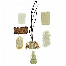 CHINESE JADE; Seven carved pieces: cloud form,
