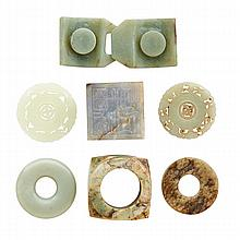 CHINESE JADE; Seven carved pieces: two Bi, Song