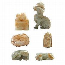 CHINESE JADE; Six carved figural pieces include