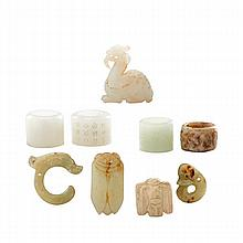 CHINESE JADE; Nine carved pieces: Hongshan style