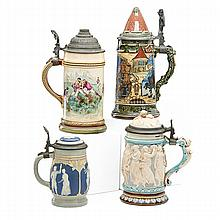 METTLACH STEINS; Four, early 20th c.: no. 2382