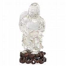 CHINESE CARVED ROCK CRYSTAL FIGURE OF AN IMMORTAL;
