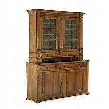PENNSYLVANIA GERMAN CUPBOARD; Walnut with glass