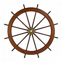 SHIP'S WHEEL; Walnut spokes, early 20th c.; 84