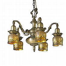 PAIR OF THREADED ART GLASS SHADE CHANDELIERS;