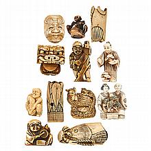 JAPANESE IVORY NETSUKE; Twelve in figural and
