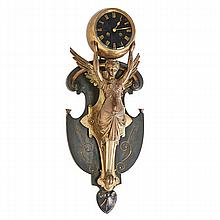 FRENCH FIGURAL WALL CLOCK; Spelter figure of