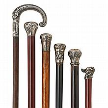 SILVER TOPPED CANES; Six, 19th/20th c. include one