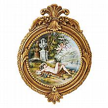 GERMAN PORCELAIN CHARGER; Bacchante on a leopard