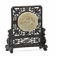CHINESE CARVED JADE TABLE SCREEN; Circular jade