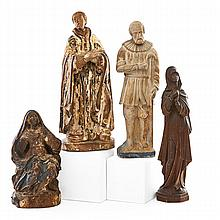 ITALIAN CARVED FIGURES; Four, 18th-20th c.: two