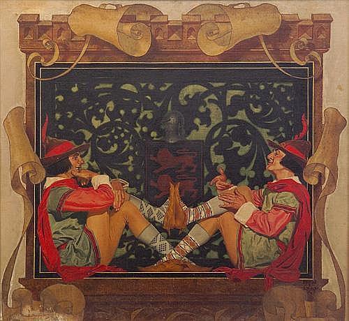 J. Conrad Linke (American b. 1892) Merry Men (original illustration), 1939, Oil on masonite, Signed and dated lower right, framed. 23