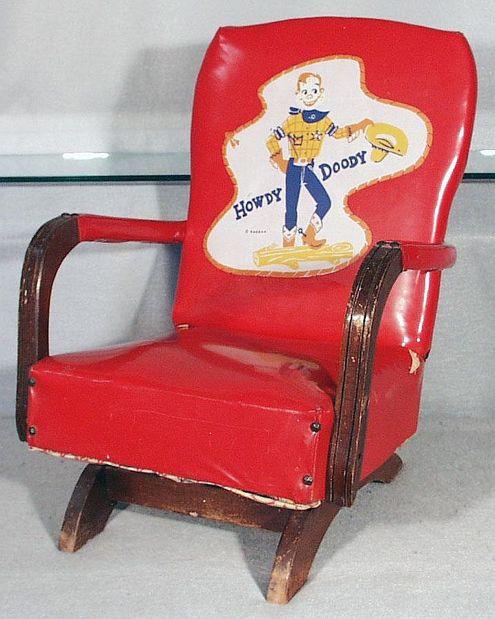 HOWDY DOODY TV CHAIR, red vinyl & wood rocker, 24