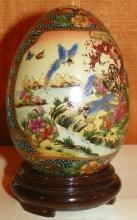 Porcelain Decorated Satsuma Egg on Stand