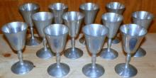 Set of 12 Pewter Goblets