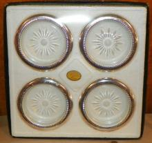 Set of 4 Crystal and Silver plated Coasters