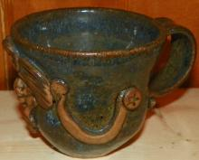 Hand thrown Pottery Mug with Celestial Face Detail
