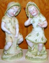 Pair of 19th Century Painted Bisque Figures